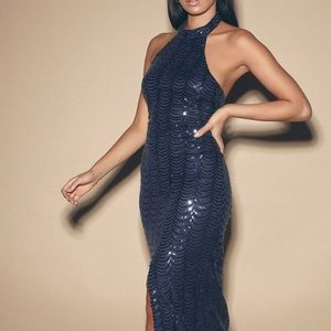 Lulus Emi Navy Blue Sequin Halter Maxi Dress
